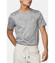 boss men's tessler 121 slim-fit jacquard-woven cotton t-shirt