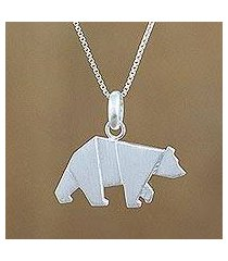 sterling silver pendant necklace, 'origami bear' (thailand)