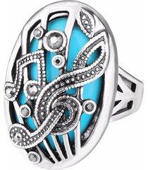 anello di barretta d'epoca intagliata musica intagliata strass ovale anello geometrico gioielli etnici per le donne