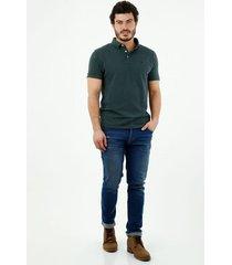 camiseta tipo polo de hombre, silueta confort manga corta, 100% algodón, color verde