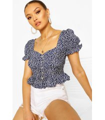 ditsy floral sweetheart woven peplum top, navy