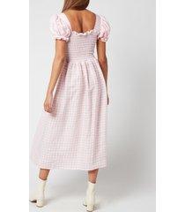 sleeper women's belle linen dress - pink & white - l