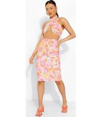 crop top met abstracte opdruk en halter neck en midi rok, pink