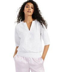 alfani blouson-sleeve split-neckline blouse, created for macy's
