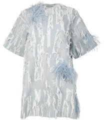 oversized feather detail t-shirt dress