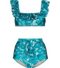 adriana degreas ruffle trim floral print bikini set - blue