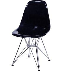 cadeira dkr policarbonato e base de metal huron – preta