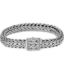 'classic chain' diamond silver bracelet