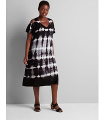 lane bryant women's cold-shoulder tie-dye swing dress 14/16 black & white tie dye