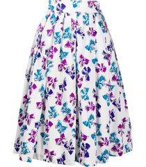 yves saint laurent pre-owned bow print full skirt - white