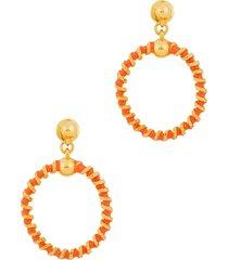 enamelled gold-tone hoop earrings
