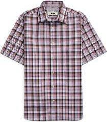 joseph abboud brown blue & purple plaid short sleeve sport shirt