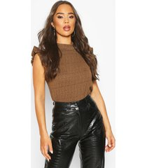 ruffle sleeveless textured ribbed top, tan