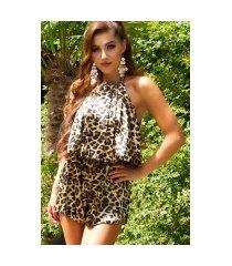sexy satijn-look jumpsuit met dieren-print luipaard
