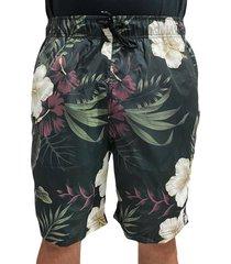 bermuda praia shorts masculino chronic floral ref/ 003 preto