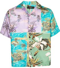 amiri hawaiian satin patchwork shirt - blue
