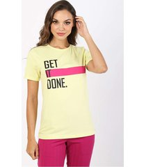 t-shirt get it done - amarelo - feminino - dafiti