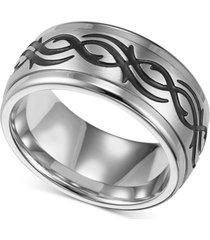 triton men's stainless steel ring, black design wedding band