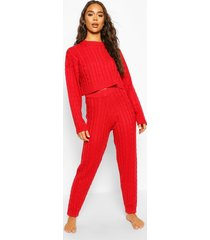 cable knit cropped sweater and jogger lounge set, red
