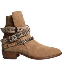 taupe bandana buckle boots
