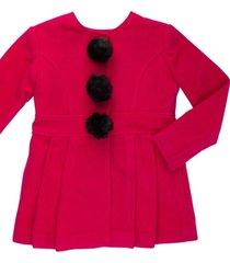 casaco lá com pompom removível gingga baby e kids pink lara - tricae