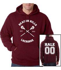 hale 00 derek hale cross beacon hills lacrosse maroon hoodie teen wolf