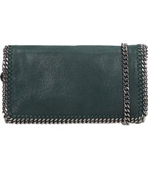 stella mccartney falabella shoulder bag in green polyester