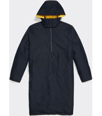 tommy hilfiger men's adaptive seated fit hooded long puffer jacket sky captain / lemon - xxl