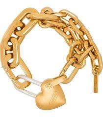 ambush heart padlock chain-link bracelet - 107 - metallic: