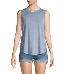 woven side cotton-blend tank top