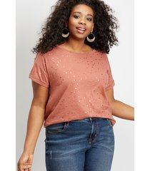 maurices plus size womens 24/7 foil dot drop shoulder tee pink