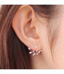 925 argento chiodi d'orecchini con ago formati a foglie in zircone e cristallo accessori di giacca