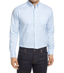 men's peter millar crown ease royce regular fit stretch check button-down shirt, size small r - blue