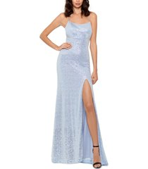 betsy & adam icy sequined slit gown