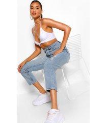distressed skinny jeans, middenblauw