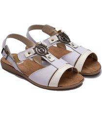 sandalia de cuero blanca valentia calzados india