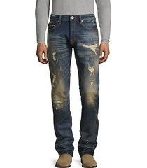 greaser distressed slim-fit jeans
