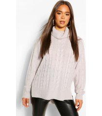 step hem cable knit sweater, silver grey