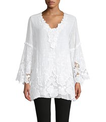 floral lace bell-sleeve tunic