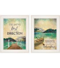 "trendy decor 4u right direction / adventure 2-piece vignette by marla rae, white frame, 15"" x 19"""