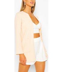 collarless pocket detail duster jacket, soft pink