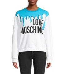 love moschino women's splash logo-print sweatshirt - white multi - size 38 (4)