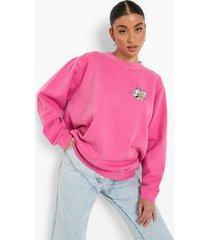 gelicenseerde geborduurde tom en jerry sweater, bright pink