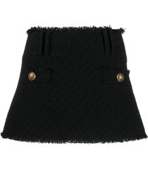 balmain short low rise tweed skirt - black