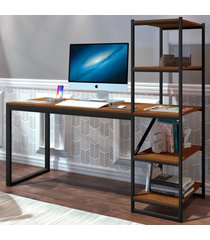 mesa para computador innovare 4 prateleiras preto/canela - art panta