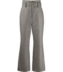 peter pilotto kick-flare tweed trousers - grey