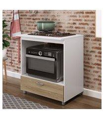 balcão p/ forno e cooktop 4 bocas completa móveis 1 gaveta amadeirada