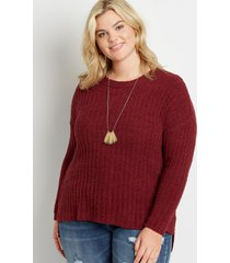 maurices plus size womens berry cozy crew neck pullover red
