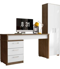 conjunto escritã³rio mesa petrã³polis e estante office 2 portas avelã£/branco - mã³veis leã£o - marrom - dafiti