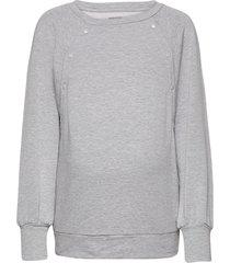 maternity nursing snap-button sweatshirt sweat-shirt tröja grå gap